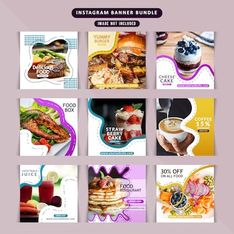 Ресторан еды для постов в социальных сетях