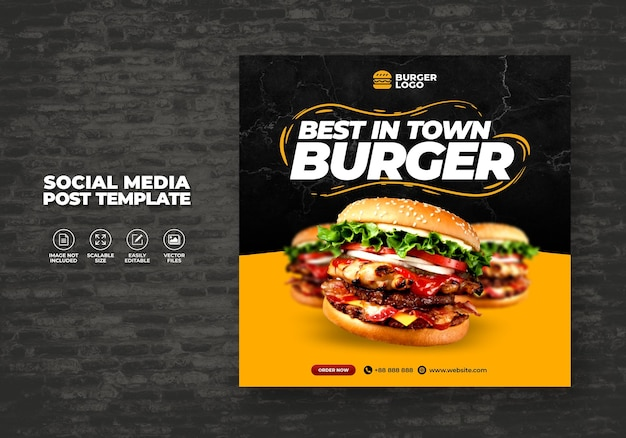 タウンメニュープロモーションのソーシャルメディアテンプレートスペシャルスーパーデリシャスバーガーのフードレストラン