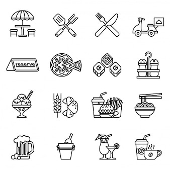 Food and restaurant icons set with white background.