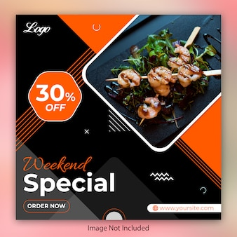 Food restaurant instagram post, square banner or flyer template
