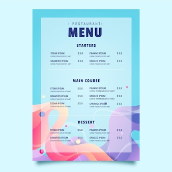 Шаблон меню ресторана еды