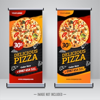 Food and restaurant pizza roll up banner template