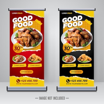 Food and restaurant roll up banner design template