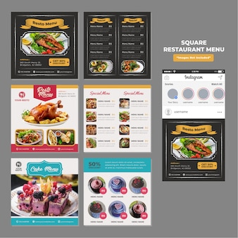 Food restaurant social media square promotional template