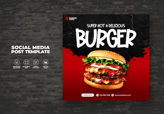 Food restaurant for social media template special burger menu promo