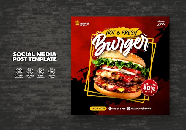 Food restaurant for social media template special delicious burger menu promo