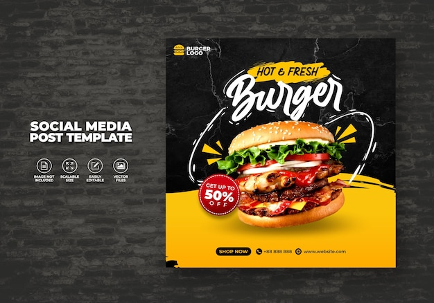 Food restaurant for social media template special free burger menu promo