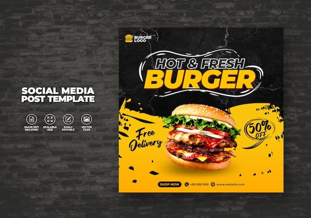 Food restaurant for social media template special free fresh delicious burger menu promo