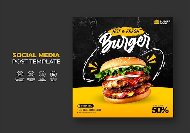 Food restaurant for social media template special fresh delicious burger menu promo