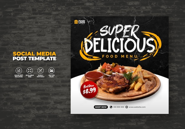 Food restaurant for social media template special menu promo