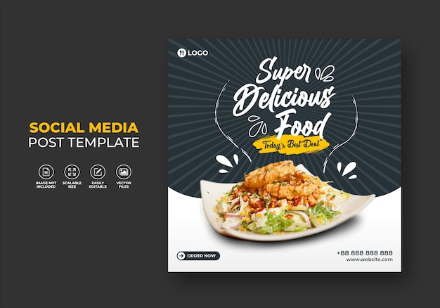 Food restaurant for social media template special super delicious burger menu promo