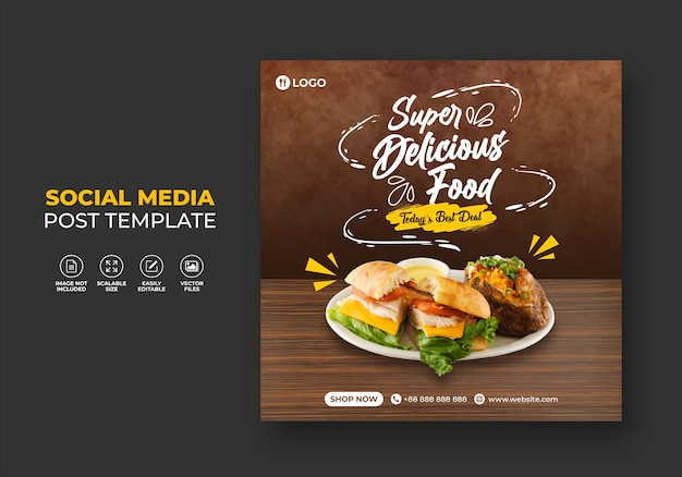 Food restaurant for social media template super delicious burger menu promo