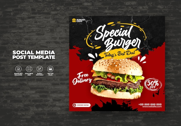Food restaurant for social media template today delicious burger menu promo