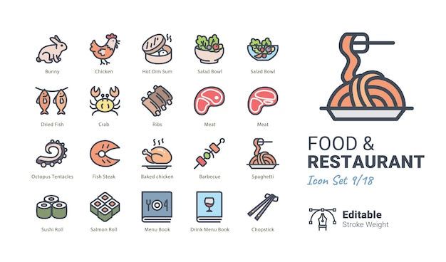 Food & restaurant vector icons collection