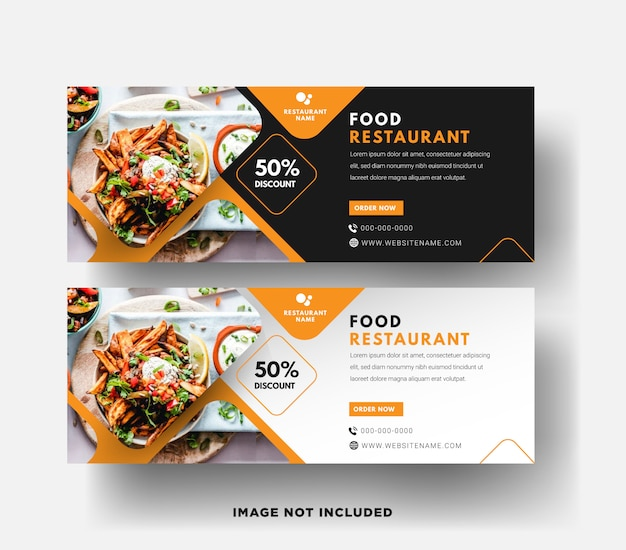 Food restaurant web  banner template with a modern elegant 3d design in yellow