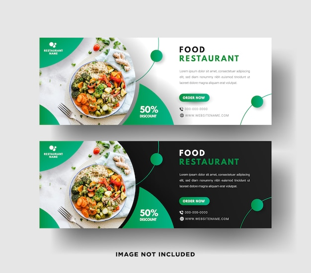 Food restaurant web banner template with a modern elegant design in green