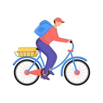 Еда райдер, доставщик пиццы плоский цвет безликий характер. мужской курьер езда на велосипеде. еда на вынос, фаст фуд, сервис изолированных мультфильм иллюстрации для веб-графического дизайна и анимации