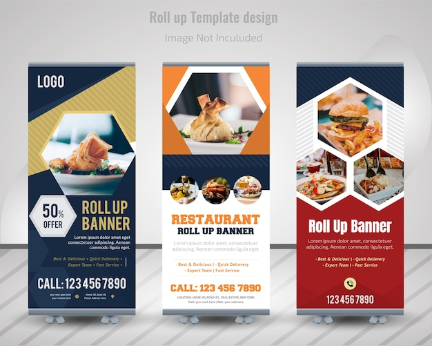 Food roll up banner design for restaurant