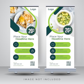 Food roll up banner design template