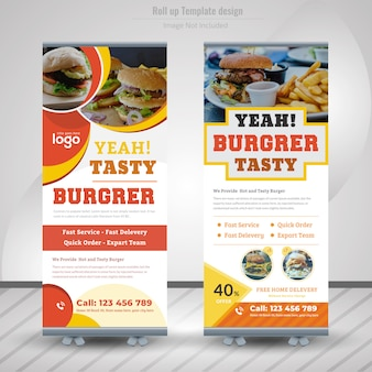 Food roll up banner for restaurant