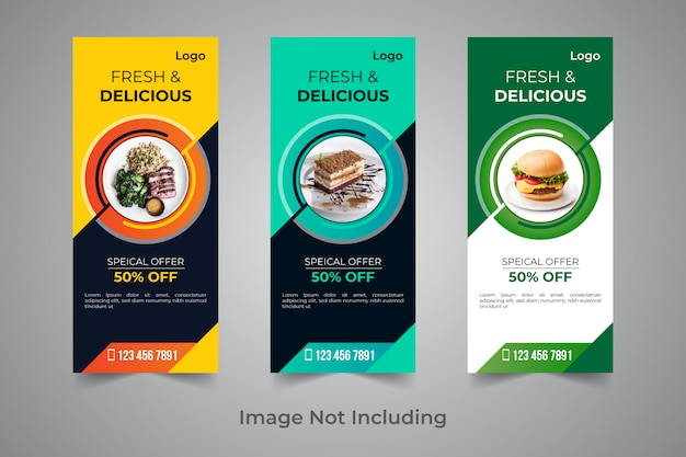 Food rollup banner design template