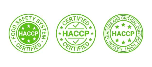 Значки системы безопасности пищевых продуктов. наклейка с сертификатом haccp. векторная иллюстрация.