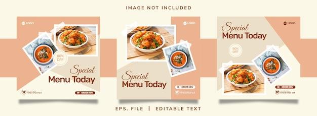食品販売ソーシャルメディアプロモーションとinstagramのバナー投稿テンプレートデザイン