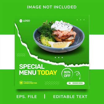 음식 판매 소셜 미디어 홍보 및 인스타그램 배너 포스트 템플릿 디자인