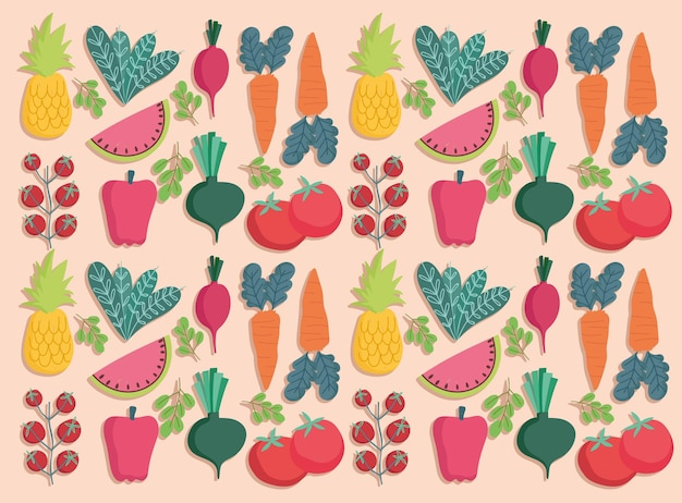Food seamless pattern fresh vegetables and fruits nutrition  illustration