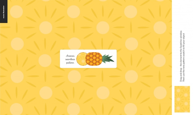 Food seamless pattern, fruit, pineapple