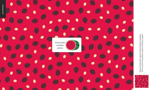 Food seamless pattern, fruit, watermelon