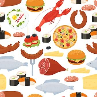 Еда бесшовные модели в плоском стиле с разбросанными красочными векторными иконками жареного мяса, омаров, суши, рыбы, колбасы, пиццы, яиц, сыра и салями, в квадратном формате для оберточной бумаги и ткани