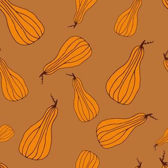 ラインアートと落書きスタイルの食品シームレスパターンカボチャ感謝祭とハロウィーンのプリント