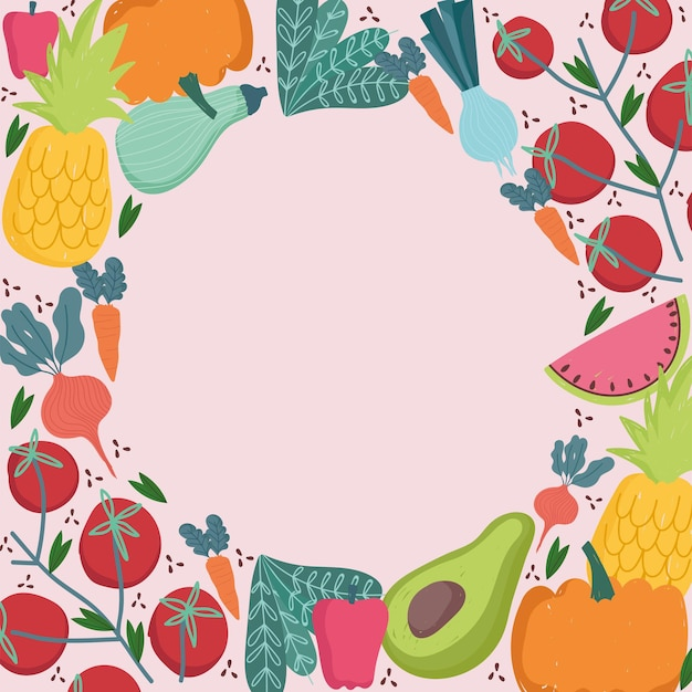 Food seamless pattern round border fresh vegetables and fruits   illustration