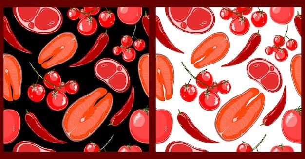 赤い魚の野菜と食品のシームレスなパターン