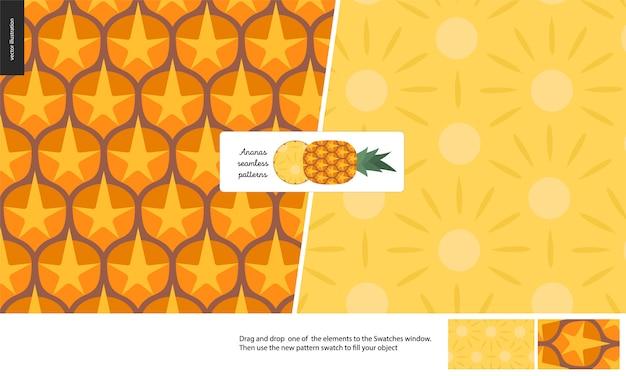 Food seamless patterns, fruit, pineapple