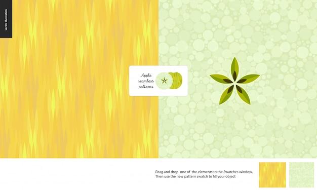 Food seamless patterns, fruit, yellow apple