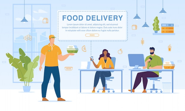 Food set meals delivery to office service web template