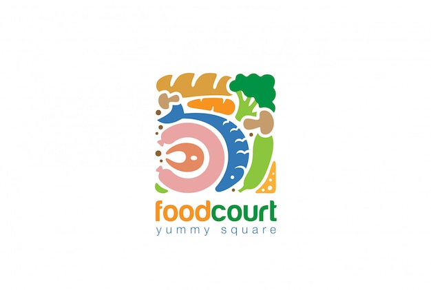 Food set square logo flat  icon