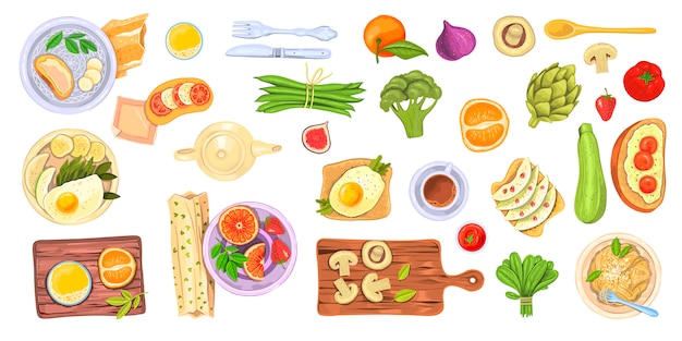 Food set with healthy dishes, breakfast and brunch elements, vegetables, fruit and drinks