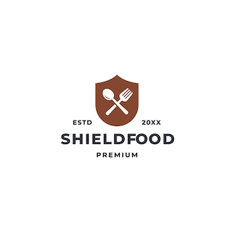 Food shield logo with spoon and fork icon symbol