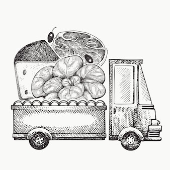 Food shop delivery logo. hand drawn truck with vegetables, cheese and meat illustration. engraved style retro food design.