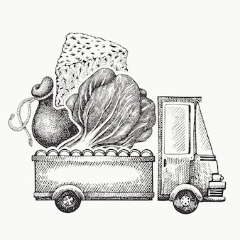 Food shop delivery logo template. hand drawn truck with vegetables and cheese illustration. engraved style retro food design.