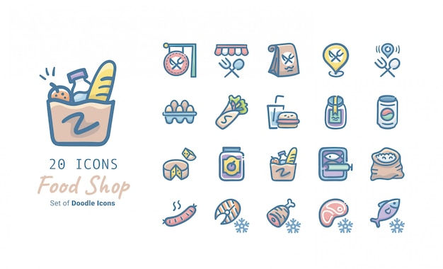 Food shop doodle icon collection