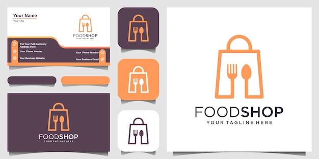 Food shop 로고 디자인 템플릿, 스푼 및 칼 붙이와 결합된 가방.