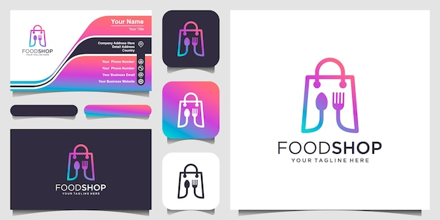 Шаблон дизайна логотипа продовольственного магазина, сумка в сочетании с ложкой и столовыми приборами.