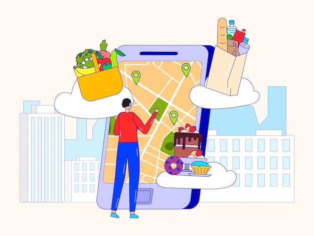 Продовольственный магазин онлайн, иллюстрация службы доставки. человек-клиент выбирает адрес на карте gps смартфона для быстрого заказа.