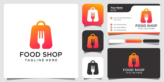 Food shop with business card logo design vector