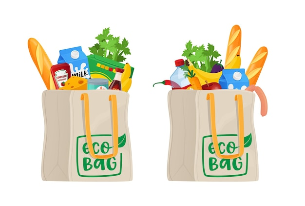 Food in shopping eco bags, grocery isolated