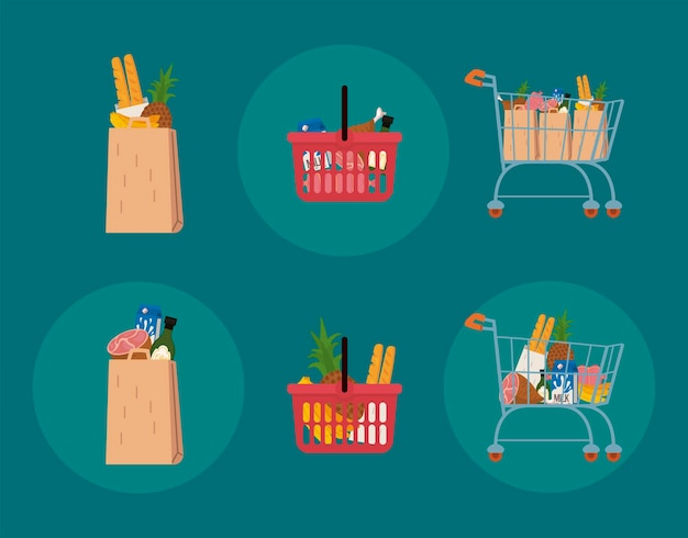 Food and shopping icon collection